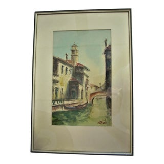 Venetian Canal Watercolor Painting For Sale
