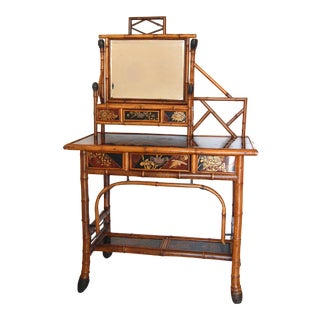 19th Century English Antique Bamboo Etagere Desk For Sale