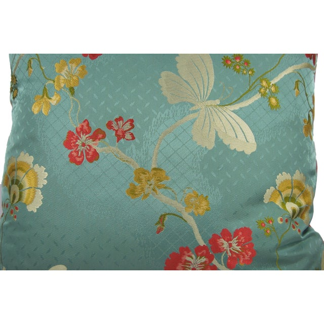 Cottage Vintage Brocade Butterfly Pillows - A Pair For Sale - Image 3 of 4