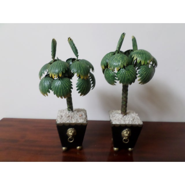 Hollywood Regency Pair of Hand-Painted Tole Palm Trees in Neoclassical Pots For Sale - Image 3 of 12