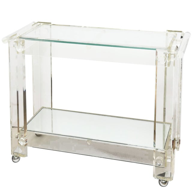 1970s Modern Lucite Mirrored and Glass Two-Tier Bar Cart or Trolley For Sale