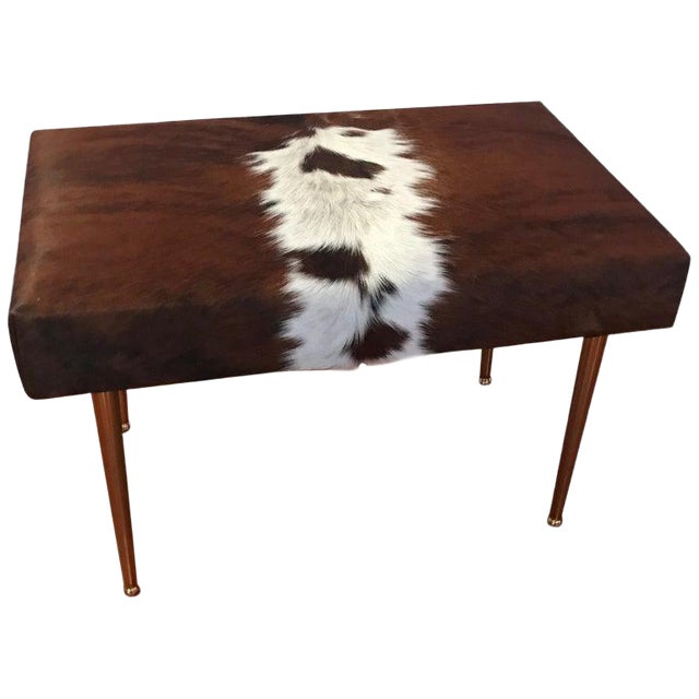 Modern Cow Hide Upholstered Bench With Brass Legs For Sale