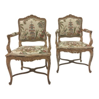 1960s Vintage Distressed Painted Carved Wood French Armchairs- A Pair For Sale