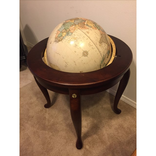 "George F. Cram Co. Floor Model Classic 16"" World Globe with Wooden Stand - Image 5 of 5"