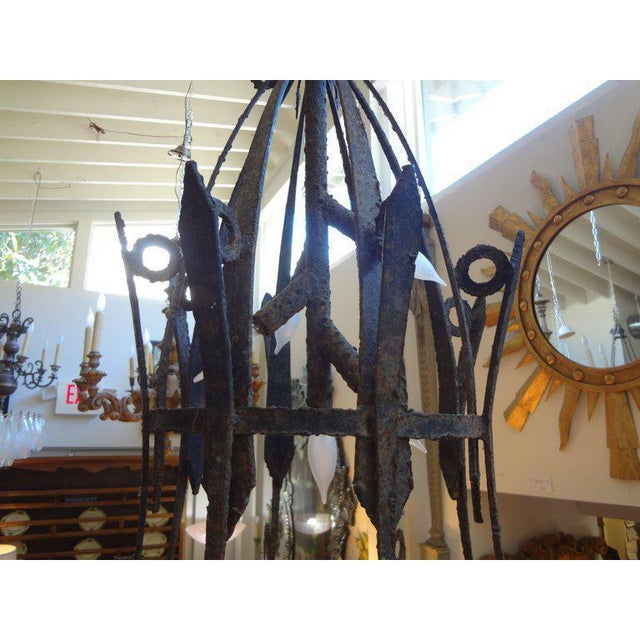 1920's Antique French Wrought Iron Lantern For Sale - Image 4 of 10
