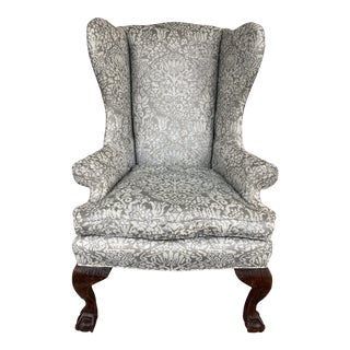 Late 20th Century Chippendale Style Wing Chair For Sale