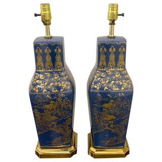 Pair of Powder Blue Chinese Export Porcelain With Gilt Decoration For Sale