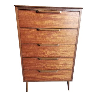 1960s Mid-Century Modern Teak & Walnut Chest of 5 Drawers Tall Dresser For Sale