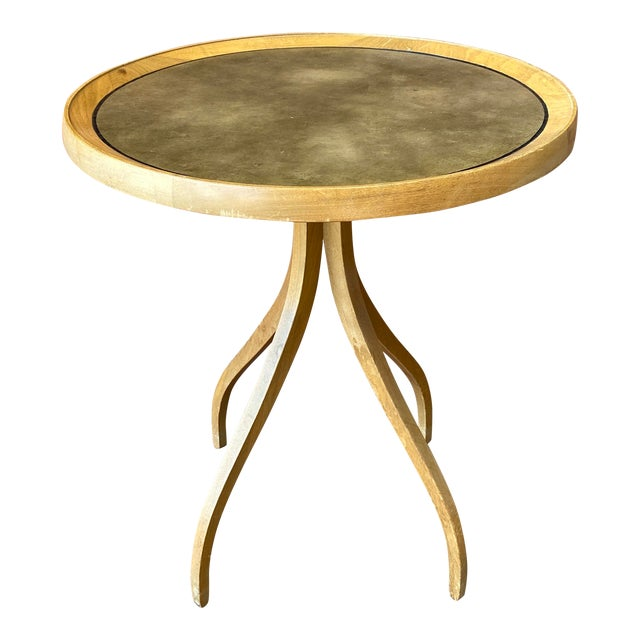 1960s Kipp Stewart for Drexel Round Leathertop End Table For Sale