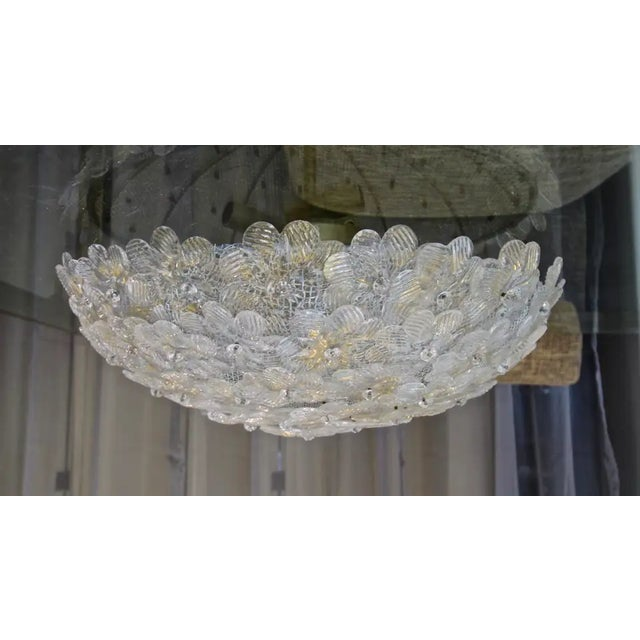 Murano handblown floral or flower glass flush mount ceiling light, with a brass metal fittings and ceiling plate. Glass...
