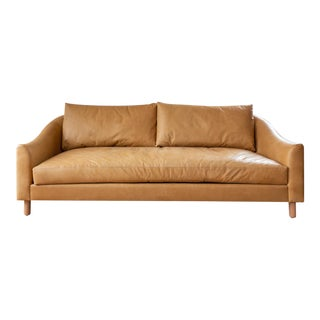 Art Deco Inspired Curved Back Camel Leather Sofa For Sale