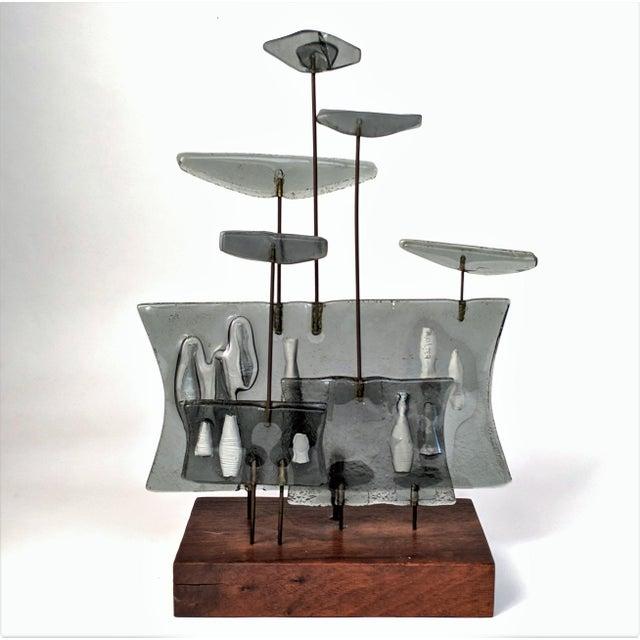 Higgins Style Studio Art Glass Sculpture on Wood Base - Image 11 of 11