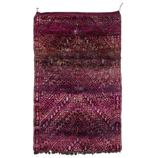 20th Century Moroccan Purple Wool Beni M'Guild Rug For Sale