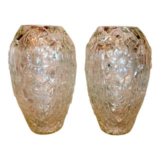 Late 20th Century Crystal Vases - a Pair For Sale