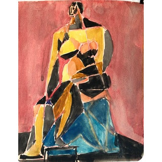 "1950s ""Yellow Cubist Figure"" Ralph Dubin For Sale"