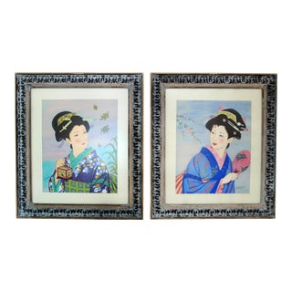 Original Vintage Framed Japanese Geisha Pastel Paintings - a Pair