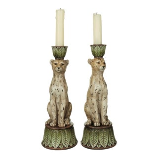 Lakadema Leopard Candle Holders in Multi - A Pair