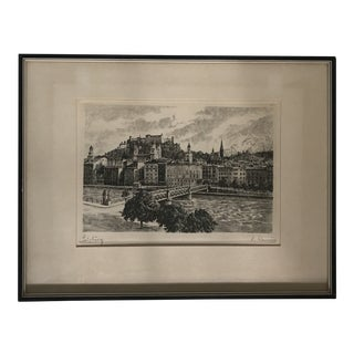 Framed Salzburg Austria Engraving For Sale