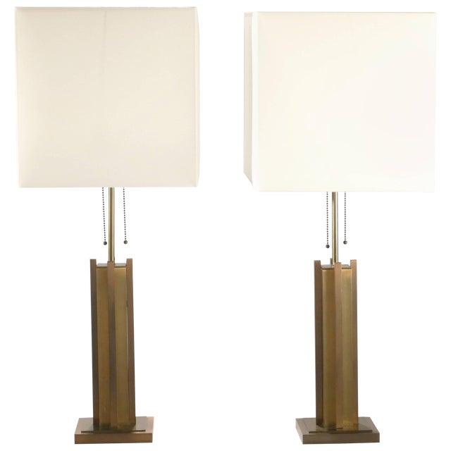 Pair of Gaetano Sciolari Brass and Bronze Lamps, 1970s For Sale