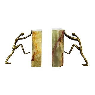 Mid Century Modern Pair of Brass Figures & Marble Bookends Sculptures 1960s For Sale