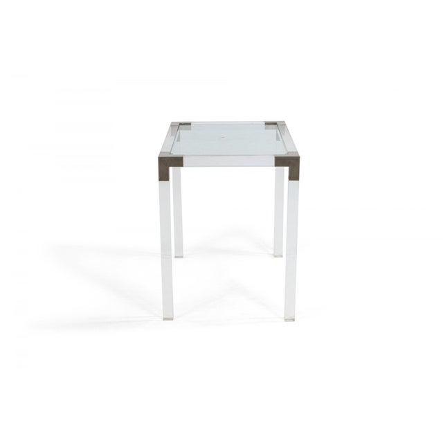 Maison Jansen 1950s French Mid-Century Lucite & Metal Nesting Tables - Set of 3 For Sale - Image 4 of 5
