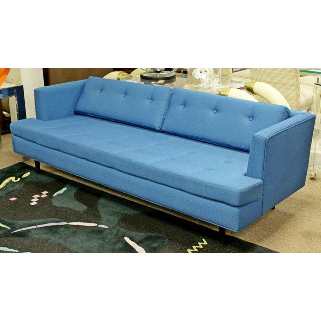 1960s Mid-Century Modern Tufted Blue Sofa
