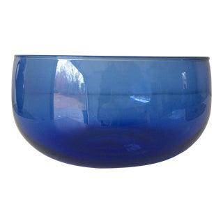 Vintage Blenko Handblown Cobalt Glass Salad Bowl Curved For Sale