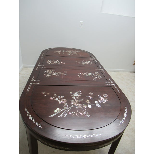 Vintage Rosewood Chinese Chippendale Mother of Pearl Dining Room Banquet Table For Sale - Image 9 of 11