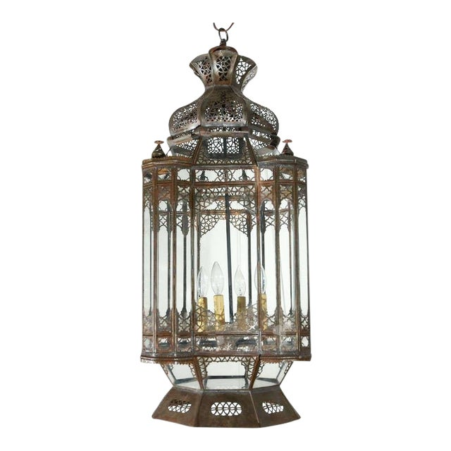 Large Vintage Moroccan Moorish Glass Light Fixture For Sale