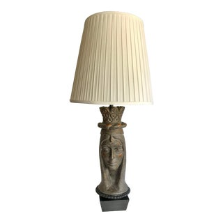 Vintage Figural Portrait Ceramic Lamp For Sale