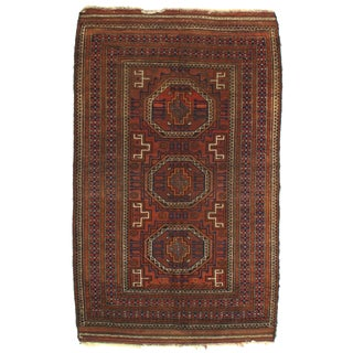 1920s Antique Afghan Baluch Rug - 3′8″ × 6′ For Sale