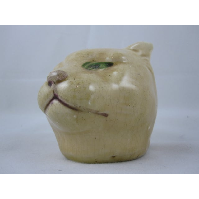 Antique French Orchies Majolica Cat Head Bank - Image 5 of 8