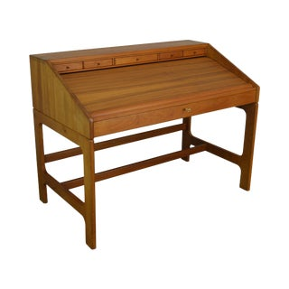 Danish Modern Campaign Style Teak Tambour Writing Desk by D-Scan For Sale