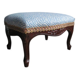 Vintage Quadrille Fabric & Samuel and Sons Trim Footstool