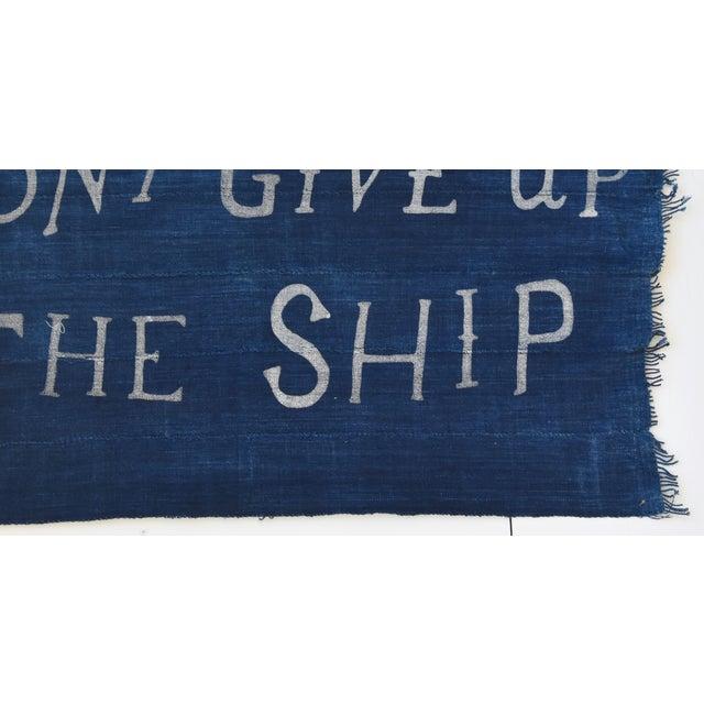 "Early 21st Century Boho Chic Nautical Themed Indigo Blue/White African Textile Flag 35"" X 21"" For Sale - Image 5 of 10"