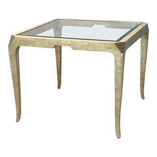 Tessellated Coral Stone and Brass Games Table For Sale