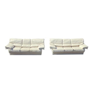 1980s Post Modern White Leather Sofa For Sale