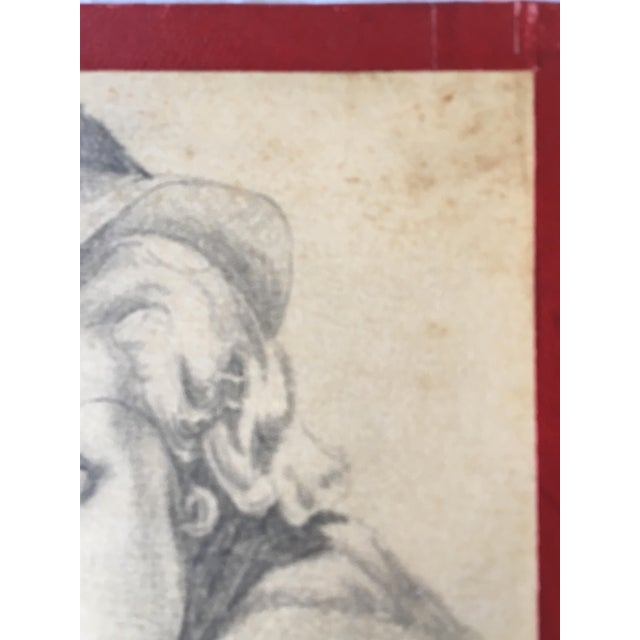 """1930s 1930s Art Deco """"Lady With a Hat"""" Pencil Drawing For Sale - Image 5 of 7"""