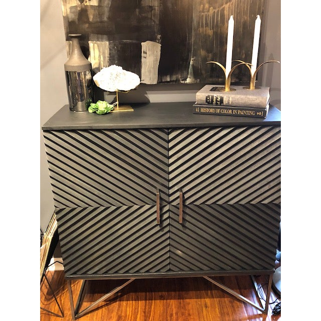 Black Geometric Wood Two Door Cabinet - Image 8 of 12