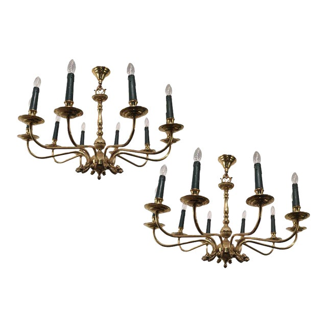 Pair of Large Brass Chandeliers in the Form of Dolphin Heads For Sale