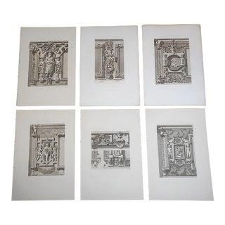 Antique 19th C Engravings-Palais De Fontainebleau-Architectural Details-Paris-Set of 6 For Sale