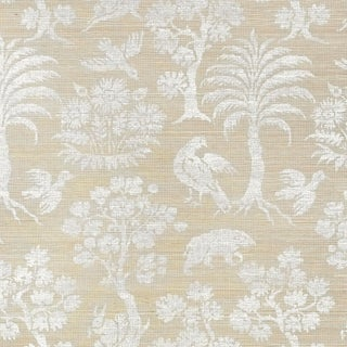 Sample - Schumacher Woodland Silhouette Sisal Wallpaper in Fog For Sale