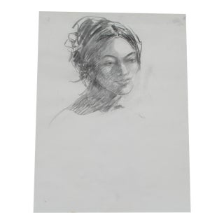 Charcoal Portrait of a Woman For Sale