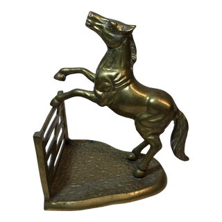 Brass Horse Jumping Fence Statue or Bookend For Sale