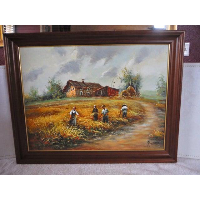 Farmhouse Harvest Original Oil on Canvas - Image 2 of 8