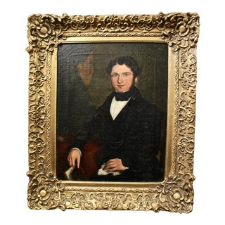 Antique Framed Portrait Oil Painting of a Young Boy For Sale