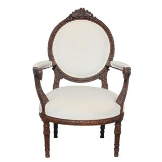 French Hand Carved Walnut Rams Head Arm Chair