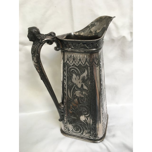 Late 19th Century Antique James Tufts Silver Plate Pitcher & Tray For Sale - Image 4 of 13