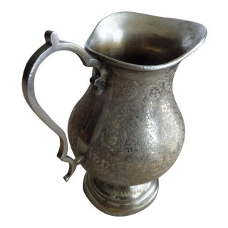 Silver Toned Brass Etched Pitcher