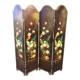 Botanical Hand Painted Chippendale Flowers Four Floor Panel Screen Divider For Sale